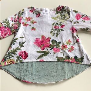 A. Bird | White Pink Floral Corduroy Top | 5